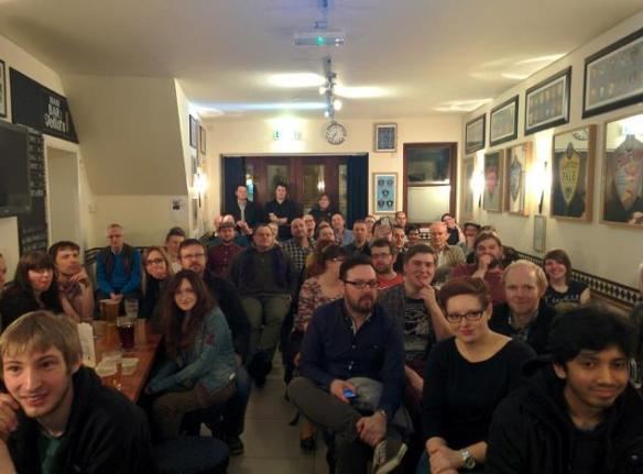 A full room at the first ever PubhD - 22 January 2014
